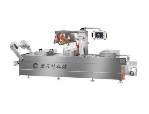 Thermoforming packaging machine for vacuum packing of salted dry beancurd